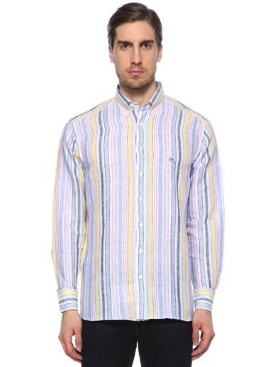 %100 Keten Çizgili Uzun Kollu Gömlek-Etro